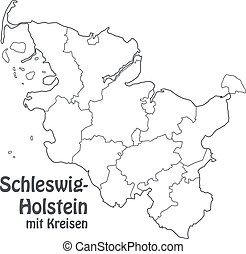 Map of Schleswig-Holstein with borders in gray