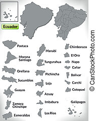 Map of ecuador with borders in gray