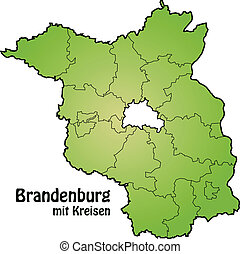 Map of Brandenburg with borders in green