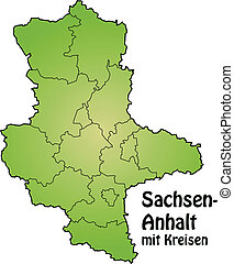 Map of Saxony-Anhalt with borders in green
