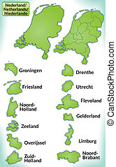 Map of Netherlands with borders in green