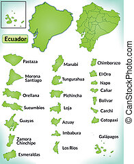 Map of ecuador with borders in green