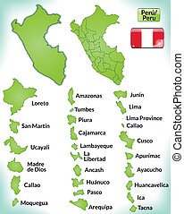 Map of Peru with borders in green