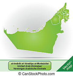 Map of United Arab Emirates with borders in green