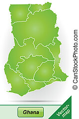 Map of Ghana with borders in green