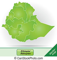 Map of Ethiopia with borders in green