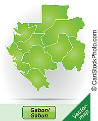 Map of gabon with borders in green