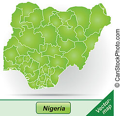 Map of Nigeria with borders in green