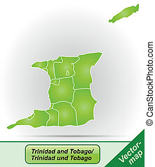Map of Trinidad and Tobago with borders in green