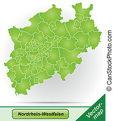 Map of North Rhine-Westphalia with borders in green