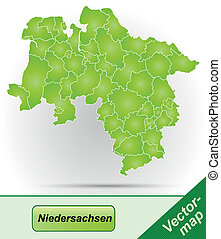 Map of Lower Saxony with borders in green