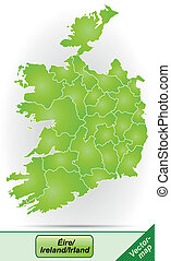 Map of Ireland with borders in green