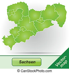 Map of Saxony with borders in green