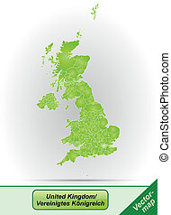 Map of England with borders in green