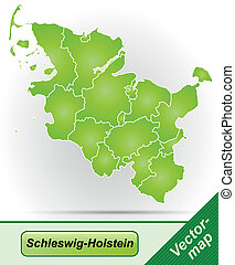 Map of Schleswig-Holstein with borders in green