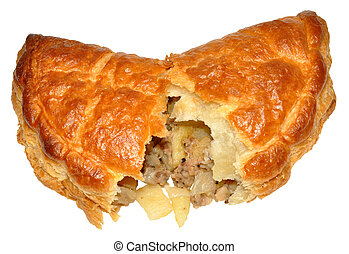 Cornish Pasty - A single Cornish pasty, isolated on a white...
