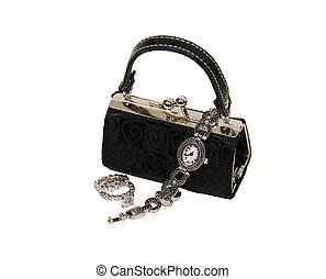 Daily luxuries - Black fabric purse with silver ball clasp...