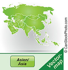 Map of Asia with borders in green