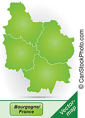 Map of Burgundy with borders in green