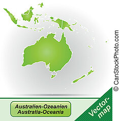 Map of australia-oceania with borders in green