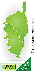 Map of corsica with borders in green