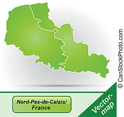 Map of North-pas-de-calais with borders in green