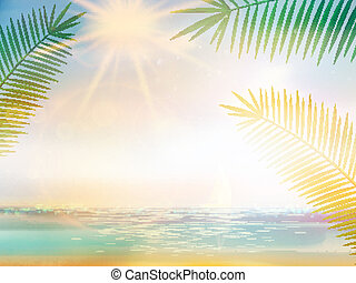 Palm and tropical beach design template. EPS10