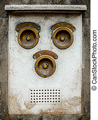 Vintage Brass Intercom - Grungy Vintage Brass Apartment...