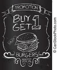 Buy one Get one Burgers on blackboard
