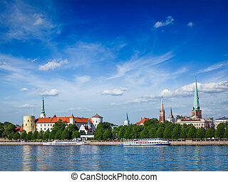 View of Riga, Latvia - View of Riga over Daugava river: Riga...