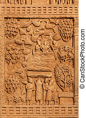 Gateway decoration Great Stupa. Sanchi, Madhya Pradesh,...