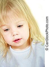 cute toddler girl portrait over white