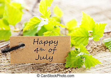 Leaves with Happy 4th of July - Label with Green Leaves and...