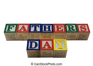 Wood Blocks Fathers day - Vintage Colored wooden play block...