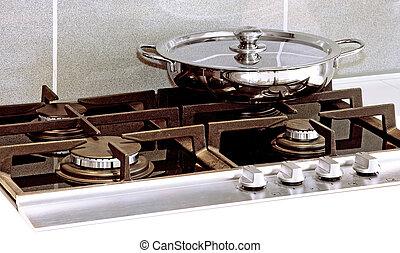 Pan at stove