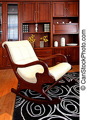 Rocking chair in wooden style living room