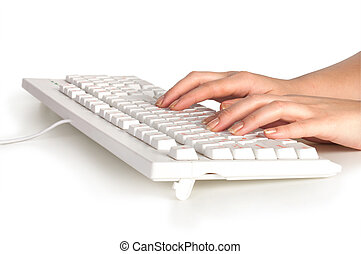 Computer keyboard and hand