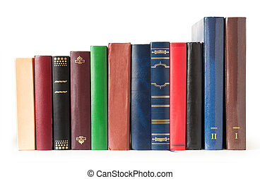 books in a row on white background