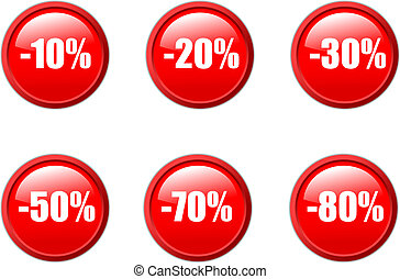 Set of vector aqua style sales discount buttons in red