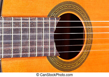 fingerboard and sound hole of acoustic guitar - fingerboard...