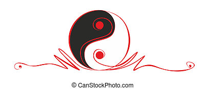 yin and yang - abstract yin and yang sign as decorative...