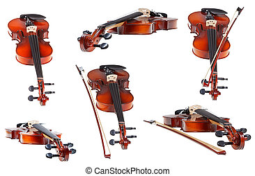 set of classical modern violins isolated