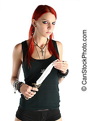 Dangerous - Red hair girl with a knife