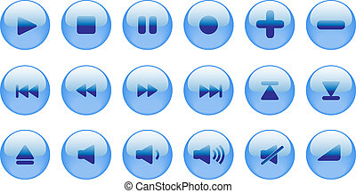 Set of blue vector icons for media player, internet or...