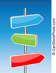3D Vector direction signs and sky background. Any size and...
