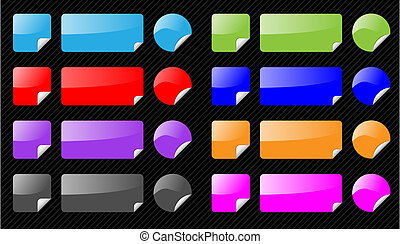Set of vector shiny web elements on striped black background. Different colors, aqua web 2.0 style. As icons, navigation, buttons. Easy to edit.