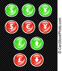 Set of vector interface buttons for currency exchange business theme. Easy to edit, any size. Aqua web 2.0