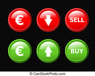 Set of vector icons for euro currency exchange theme. Easy to edit, any size. Aqua web 2.0