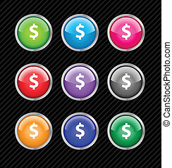 Collection of vector glossy buttons on black striped background for dollar currency theme. Easy to edit, any size. Aqua web 2.0