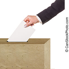 Hand with ballot isolated
